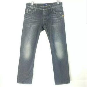 G Star Mens Size 34x32 Jeans Straight Fit Distress